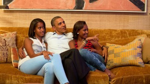 While Michele was speaking Obama posted this picture of her 'biggest fans' watching